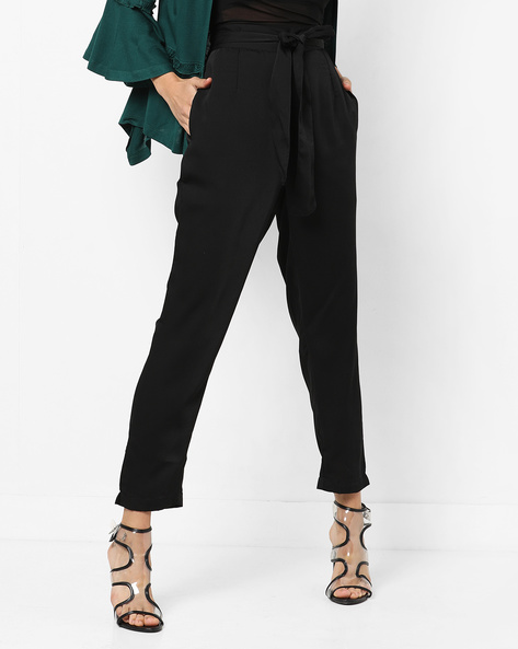 High-Waist Trousers With Tie-up By AJIO ( Black )