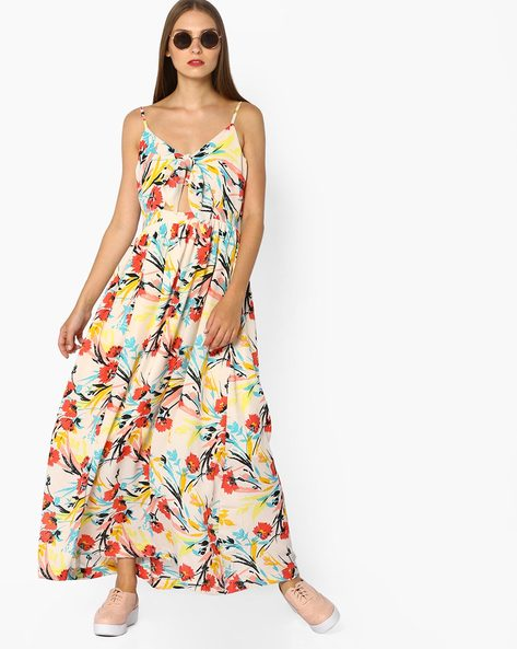 Strappy Floral Print Maxi Dress By AJIO ( White )