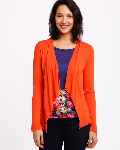Floral Print Top With Waterfall Front By Izabel London By Pantaloons ( Purple )