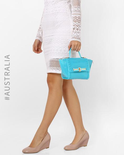Glossy Embellished Glam Mini Handbag By Holster ( Lightblue )