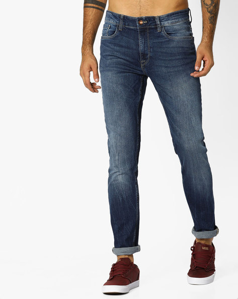 Mid-Rise Slim Tapered Jeans By AJIO ( Blue ) - 460083166001