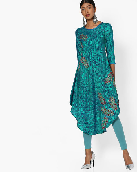 Printed Straight Kurta By Indian Ink ( Turquoise )