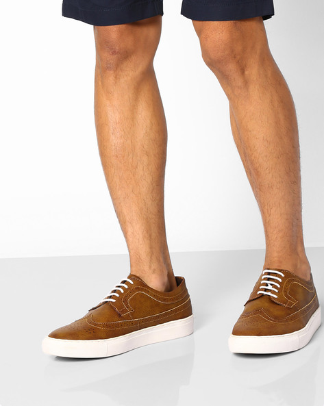 Faux-Leather Sneakers With Broguing By AJIO ( Tan )