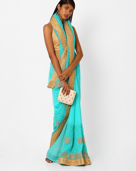 Embroidered Saree With Contrast Lace Border By Amori ( Blue )