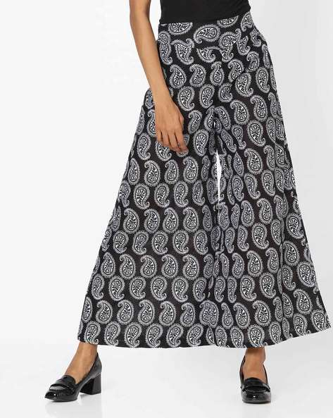 Paisley Print High-Rise Palazzo Pants By Desi Weaves ( Black )