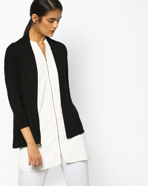 Knit Shrug With Drop Shoulders By Project Eve WW Casual ( Black )