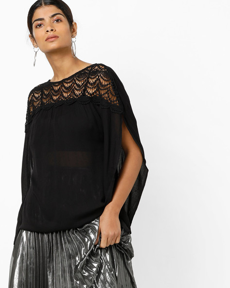 Lace Top With Slit Sleeves By Vero Moda ( Black )