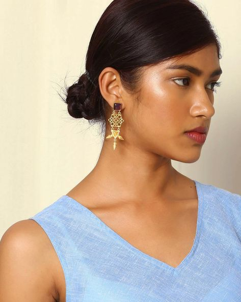 Gold-Plated Drop-Earrings With Cutwork & Stone By Indie Picks ( Purple )