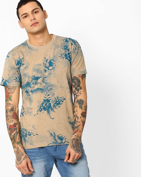 All-Over Floral Print Slim T-shirt By JOHN PLAYERS ( Beige )