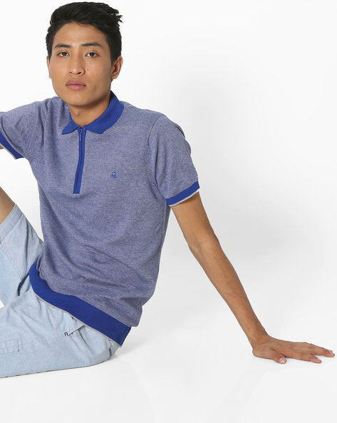 Cotton Sweater With Short Sleeves By UNITED COLORS OF BENETTON ( Blue )