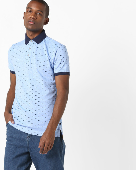Printed Polo T-shirt With Contrast Collar By UNITED COLORS OF BENETTON ( Blue )
