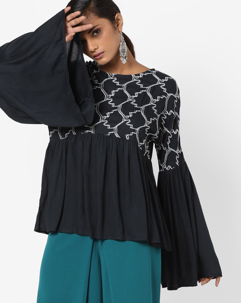 Top With Flared Sleeves By Rena Love ( Navyblue )