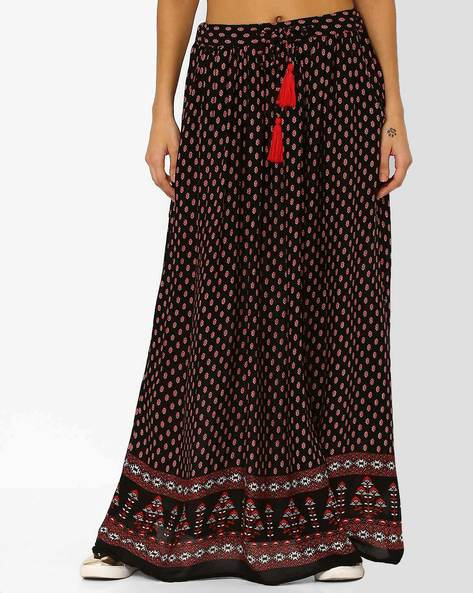 Printed Maxi Skirt By Juniper ( Black )