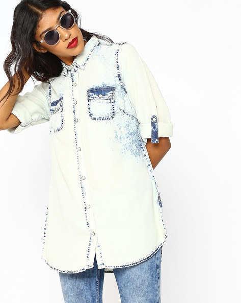 Denim Shirt With Roll-Tab Sleeves By DNMX ( Ltblue )