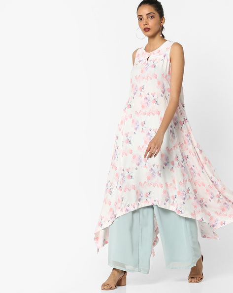 Floral Print Kurta With Dipped Hemline By Project Eve IW Casual ( Offwhite )