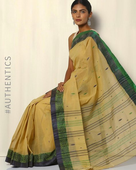 Bengal Handloom Tant Tangail Buti Cotton Saree By Indie Picks ( Cream )