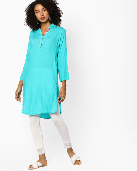 Collared Straight Kurta With Button Placket By Melange By Lifestyle ( Turquoise )