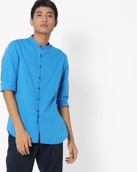 Mandarin Collar Cotton Shirt By AJIO ( Blue )