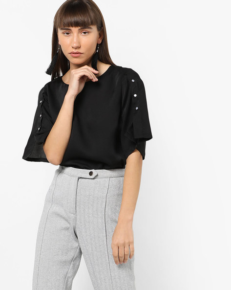 Boxy Top With Buttoned Sleeves By AJIO ( Black )