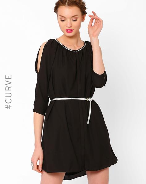 Shirt Dress With Sequinned Neckline By AJIO ( Black )