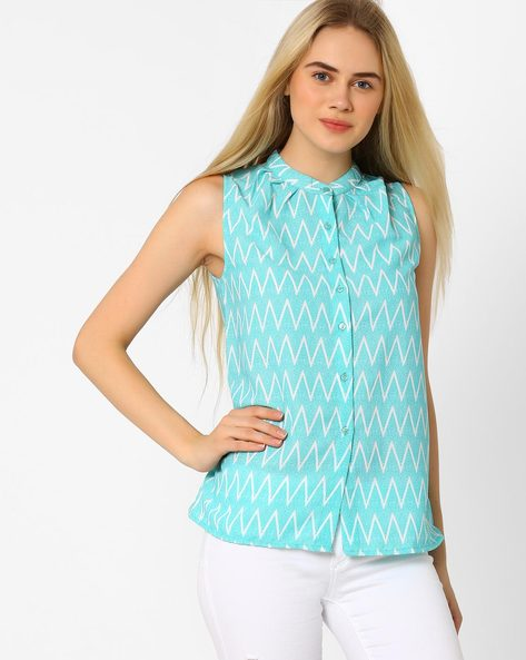 Chevron Print Top With Mandarin Collar By CHM ( White )