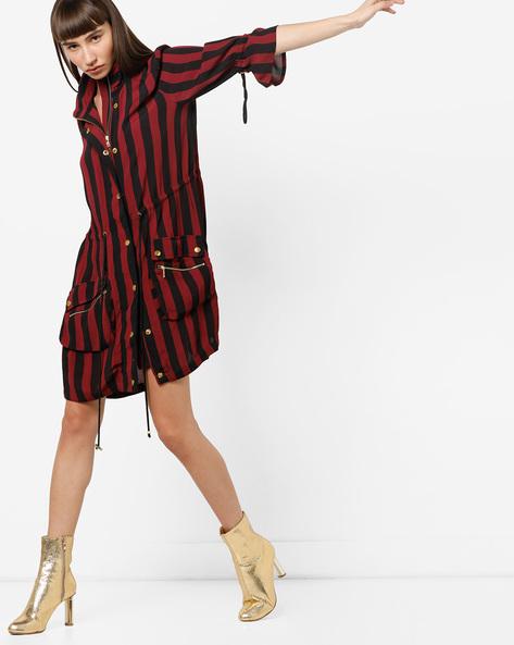 Striped Longline Jacket By Only ( Maroon )
