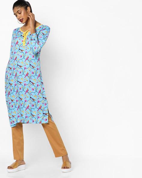 Bird Print Nightdress With Tie-Up Neckline By Heart 2 Heart ( Blue )