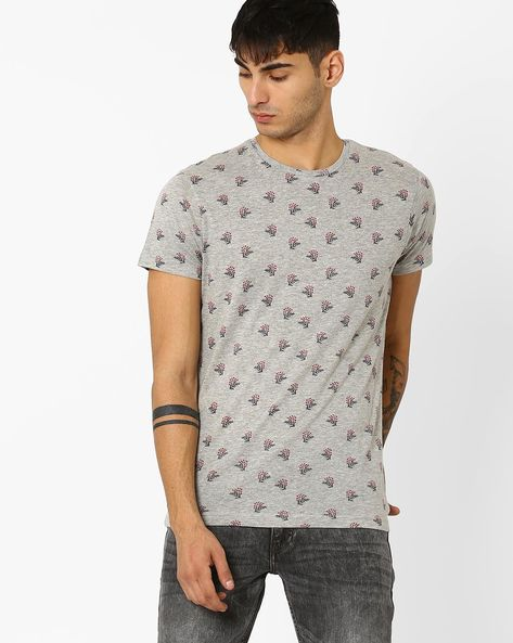 Floral Print Slim T-shirt By ADAMO LONDON ( Greymelange )