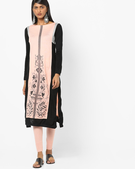 Straight Kurta With Contrast Panel By W ( Pink )