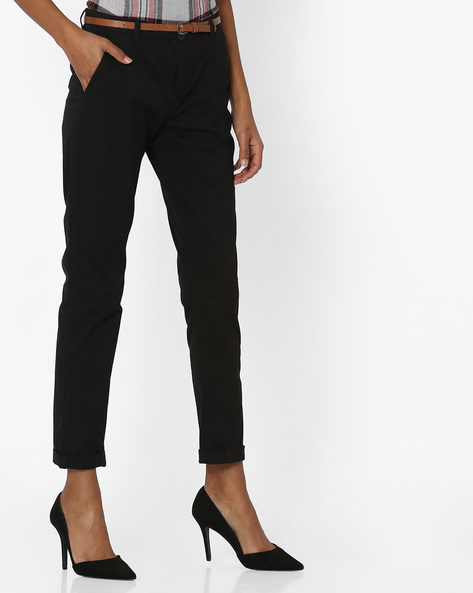 Mid-Rise Flat-Front Chinos By Pink Woman ( Black )