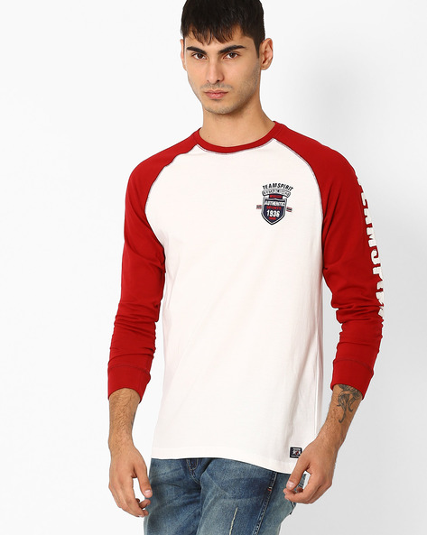 Crew-Neck T-shirt With Raglan Sleeves By TEAM SPIRIT ( Red )