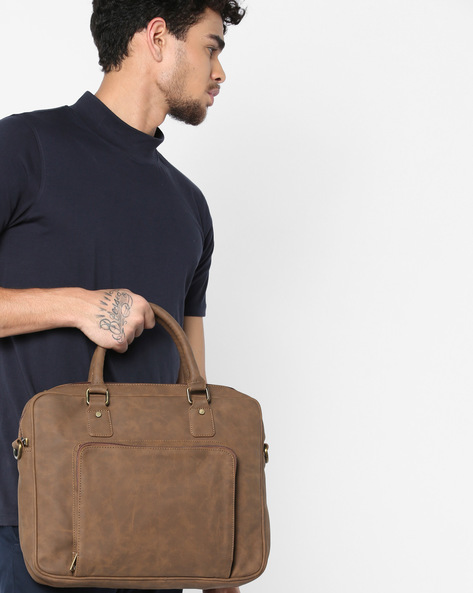 Laptop Messenger Bag By GAUGE MACHINE ( Lightbrown )