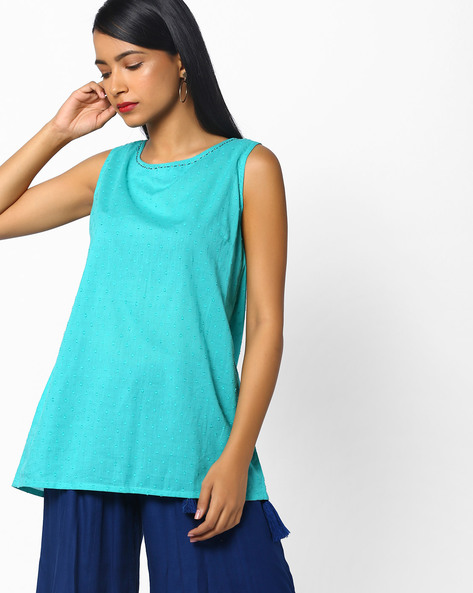 Dobby Weave Tunic With Back Slit By AJIO ( Teal )