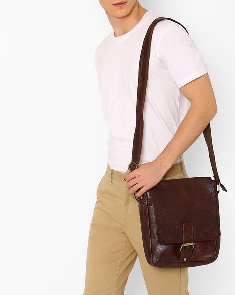 Genuine Leather Messenger Bag By TEAKWOOD LEATHERS ( Brown ) - 460053059001