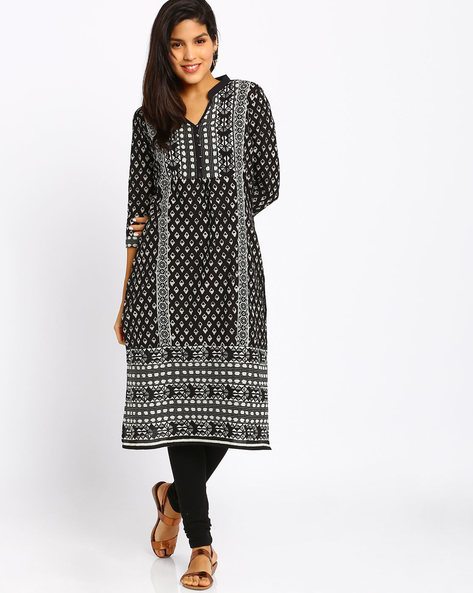 Printed Cotton Kurta By Jiyaa ( Black ) - 460011954003