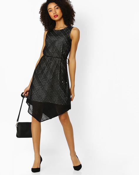 Lace Dress With Asymmetric Hem By FUSION BEATS ( Black )