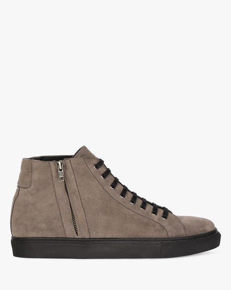 Mid-Top Sneakers With Zipper By Funk ( Grey )
