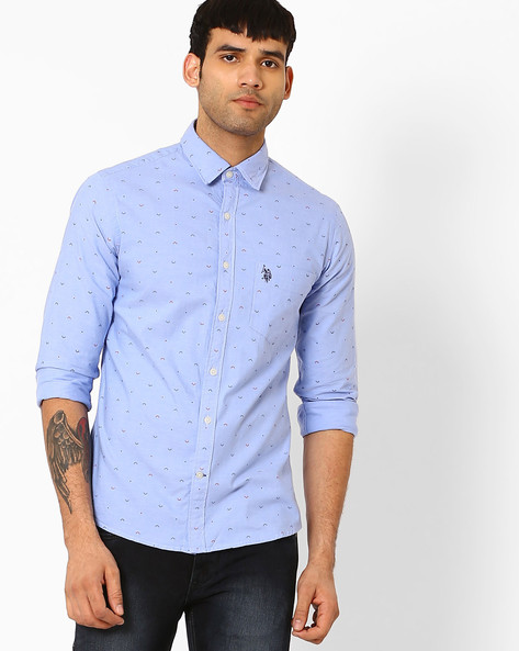 Printed Cotton Shirt By US POLO ( Blue )