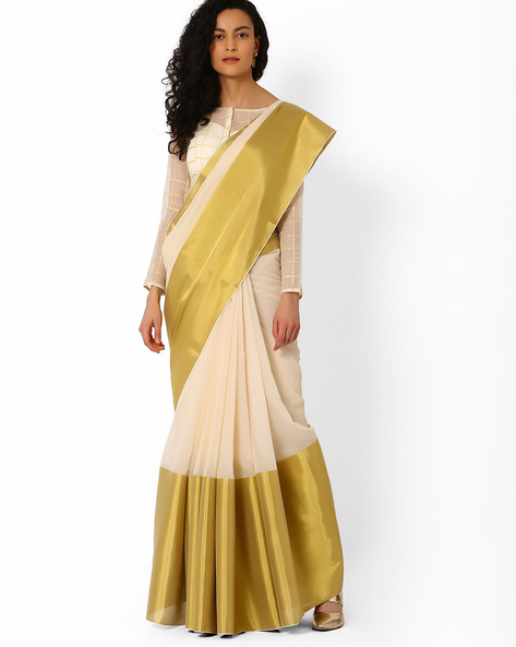Colourblock Saree With Striped Pallu By Pihu ( Gold )
