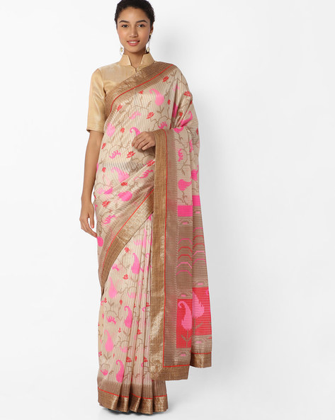 Printed Saree With Contrast Border By VIPUL ( Offwhite )