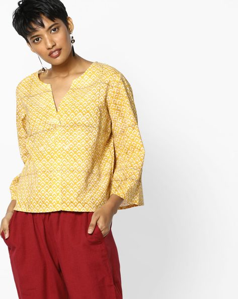 Printed Panelled Top By PE IW Fusion ( Yellow )