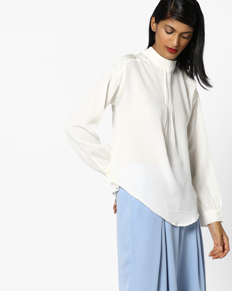 High-Neck Top With Pintucks By AJIO ( Offwhite )