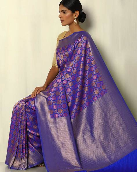 Patola-Style Brocade South Silk Saree By Pretty Woman ( Blue )