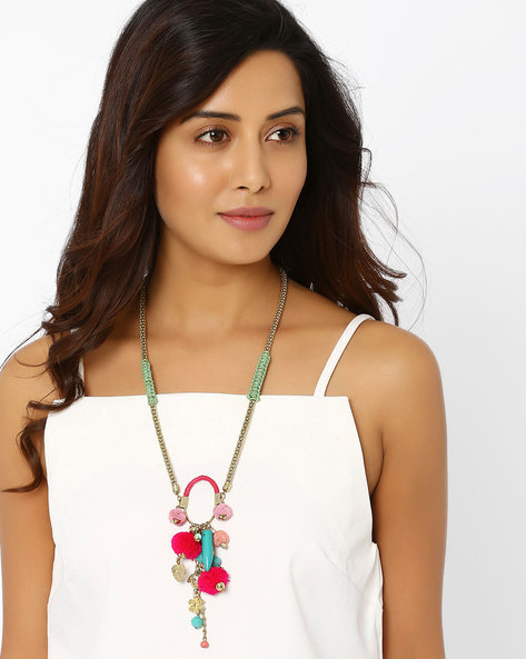 Long Necklace With Charms By AJIO ( Pink )