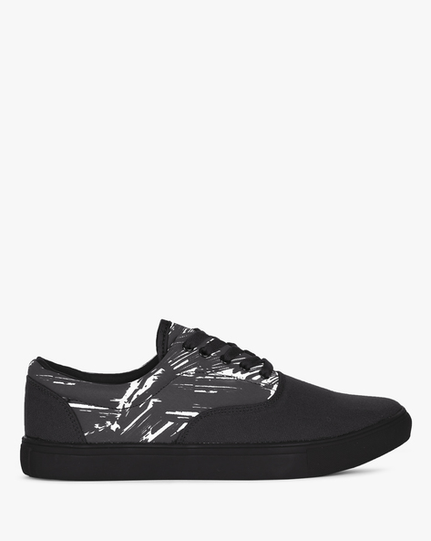 Lace-Up Sneakers With Printed Panel By Nuboy ( Black )