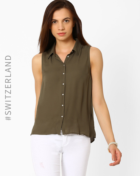 Sleeveless Shirt With Back Cut-Out By TALLY WEiJL ( Olive )