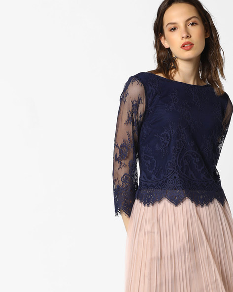 Lace Top With Eyelash Trims By AJIO ( Navyblue ) - 460077797009