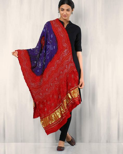 Bandhini Pure Silk Crepe Dupatta With Zari Border By Rudrakaashe-MSU ( Multi ) - 460017633001