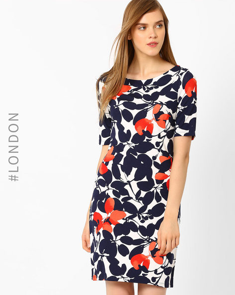 Floral Print Shift Dress By Marks & Spencer ( Navyblue )