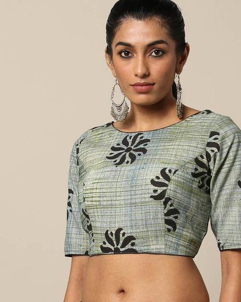 Printed Cotton Blouse With Round Neck By Indie Picks ( Green )